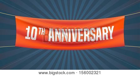 10 years anniversary vector illustration banner flyer logo icon symbol. Graphic design element with red flag for 10th anniversary birthday greeting event celebration