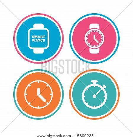 Smart watch icons. Mechanical clock time, Stopwatch timer symbols. Wrist digital watch sign. Colored circle buttons. Vector