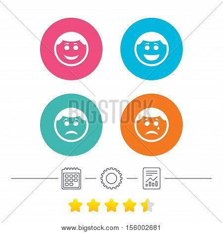 Circle smile face icons. Happy, sad, cry signs. Happy smiley chat symbol. Sadness depression and crying signs. Calendar, cogwheel and report linear icons. Star vote ranking. Vector