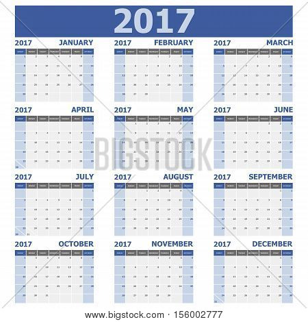 2017 calendar week starts on Sunday (12 months set), stock vector