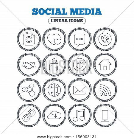 Social media icons. Speech bubble, lovers relationships and human person. Rss, share and mail envelope. Musical note, smartphone and smile. Circle flat buttons with linear icons. Vector