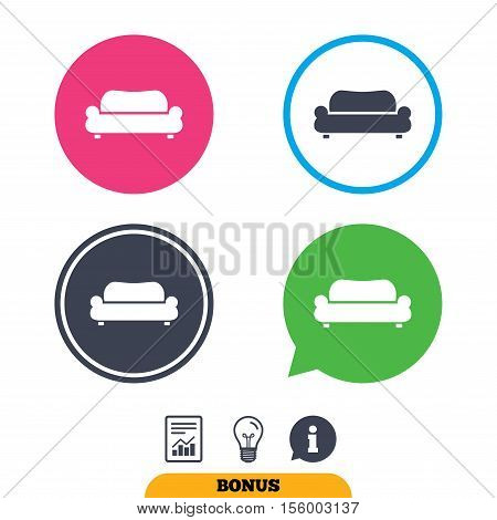 Comfortable sofa sign icon. Modern couch furniture symbol. Report document, information sign and light bulb icons. Vector