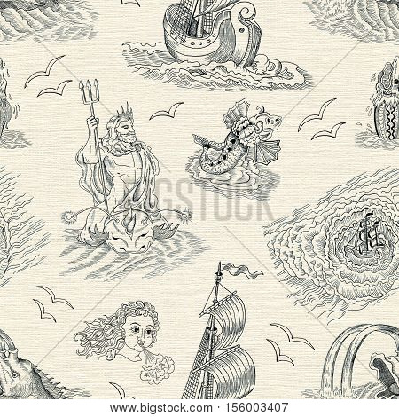 Seamless nautical background with sea mythological creatures, Poseidon, gulls and sailing ships. Endless vector illustrations with vintage adventures and old transportation design poster