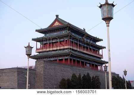 BEIJING - FEBRUARY 22:  Tower of Zhengyangmen, gate in Beijing's historic city wall situated to the south of Tiananmen Square and once guarded the southern entry into the Inner City, February 22,2016.
