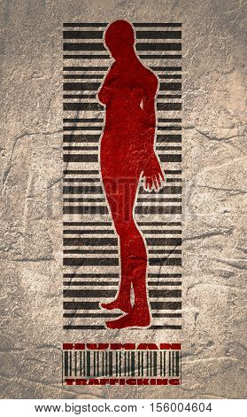 Bar code woman silhouette. Human trafficking text. Concrete textured backdrop
