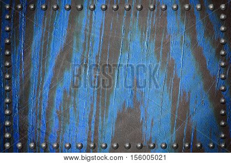 blue wood plate texture with rivet for background
