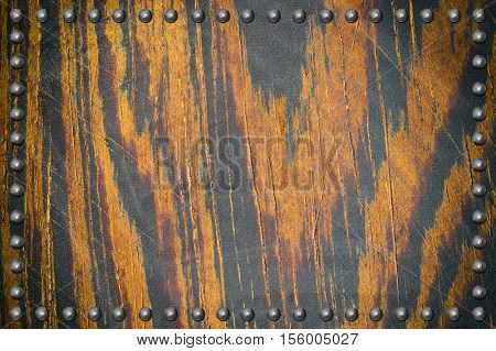 brown wood plate texture with rivet for background