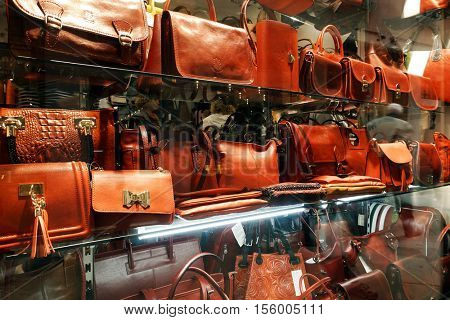 MESTRE, ITALY - OCTOBER 16, 2016: Leather store in Mestre on October 16, 2016, Italy, Europe