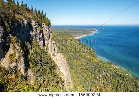 Cap-des-Rosiers as seen from Mont-St-Alban in Forillon National Park Gaspe Peninsula Quebec Canada