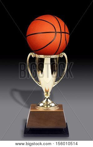 A Basketball and a golden trophy award.