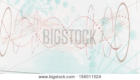 Red spiral dna pattern on screen against white background