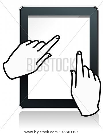 fictitious touch tablet  with hands