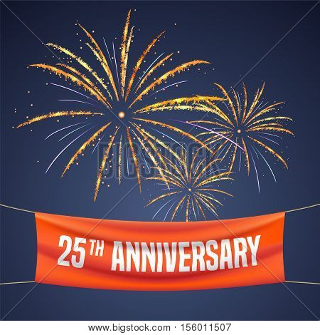 25 years anniversary vector illustration banner flyer logo icon symbol invitation. Graphic design element with fireworks for 25th anniversary birthday greeting event celebration