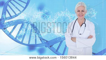 Smiling doctor with stethoscope against device screen with dna helix pattern