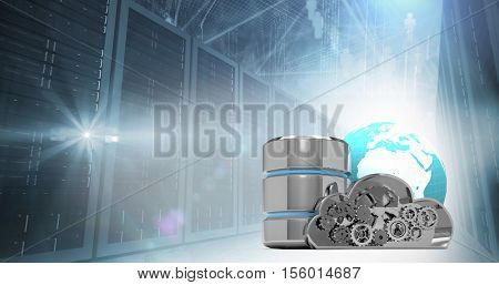 Metallic cloud and earth with hard drive symbol against servers in the clouds
