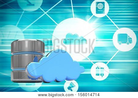 Hard drive symbol with blue cloud against cloud computing symbols