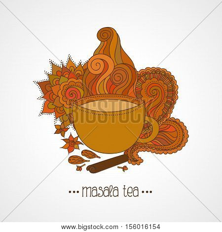 Hand drawn illustration. Cup of Indian masala tea and spices flavoring ethnic pattern isolated on white background