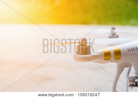 close-up of Rotor drones. Image has shallow depth of field. drone and remote. 4 blade propeller drone. Drone Video Camera. white color drone. Photos drones from Thailand.