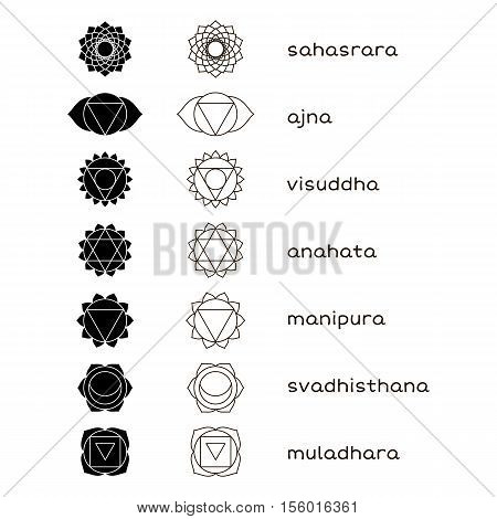 Chakras icons black and white. The concept of chakras used in Hinduism Buddhism and Ayurveda. set