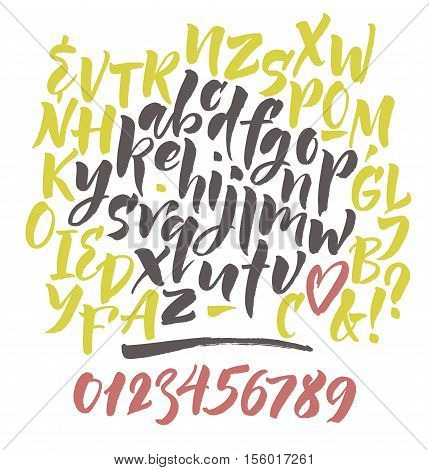 Vector alphabet. Hand drown letters. Alphabet letters: lowercase, uppercase, numbers. Vector abc. Hand drown letters. Brush font.