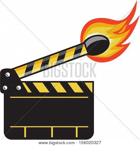 Illustration of a clapper board movie camera slate board match stick on fire set on isolated white background done in retro style.