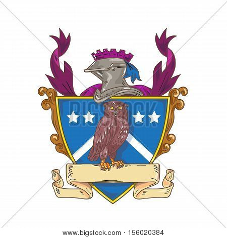 Drawing sketch style illustration of an owl observing perched on a ribbon facing front set inside shield crest with knight helmet on top of crest.