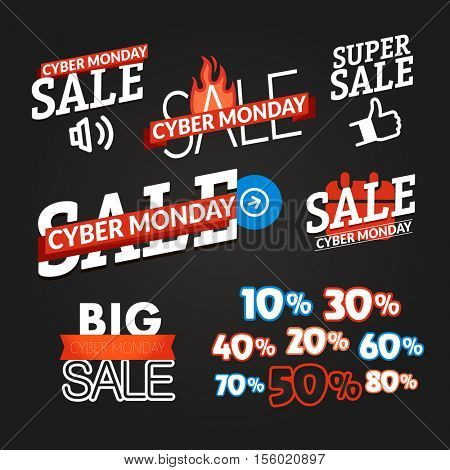 Cyber monday sale shopping logo collection. Vector illustration