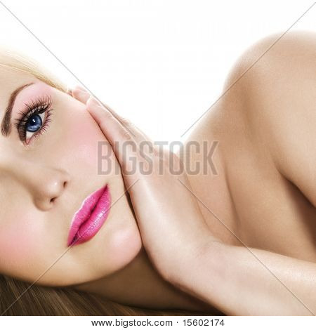 Fresh and Beautiful. Portrait of blonde with pink makeup.