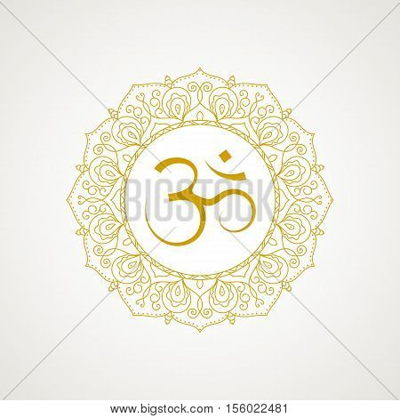 Golden om symbol. Gold lace frame. isolated on white background. Spiritual icon in Indian religions. Mantra in Hinduism Buddhism.