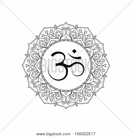 Om symbol in lace frame. Black and white isolated . Spiritual icon in Indian religions. Mantra in Hinduism Buddhism.