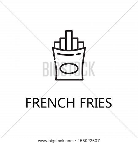 French fries line icon. Single high quality symbol of fast food for web design or mobile app. Thin line signs of Ffench fries for design logo, visit card, etc. Outline pictogram of french fries.