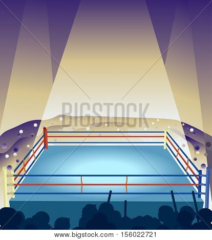 Illustration of an Empty Boxing Ring Illuminated by Strobe Lights While Spectators Cheer from the Background