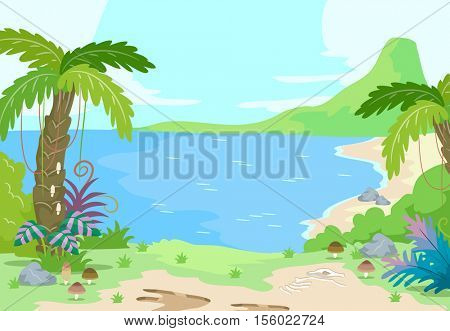Illustration of a Prehistoric Scene Featuring a Peaceful Island Dotted with Palm Trees and a Volcano in the Background