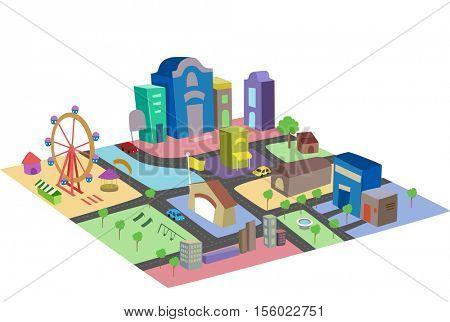 Illustration of a Colorful and Thriving Miniature City Made from Building Blocks