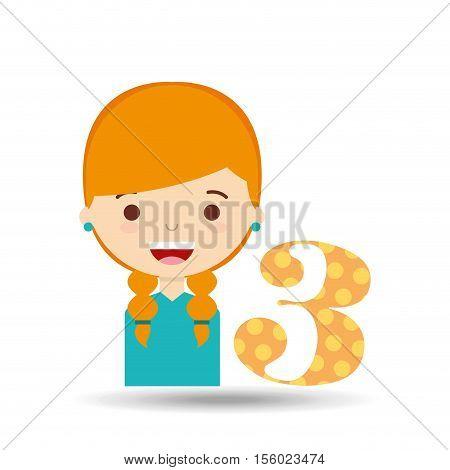 beatiful girl blonde student number vector illustration eps 10