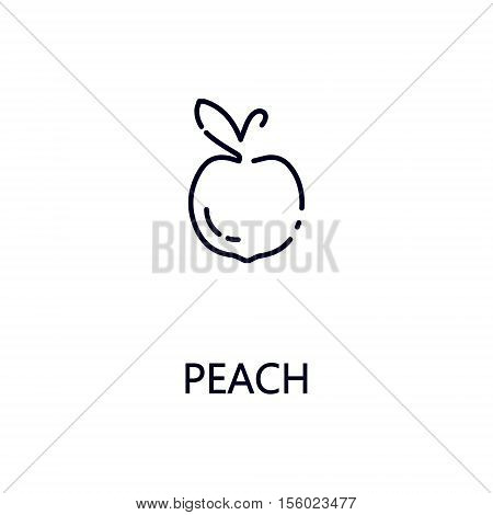 Peach flat icon. Single high quality outline symbol of fruit for web design or mobile app. Thin line signs of peach for design logo, visit card, etc. Outline pictogram of peach.