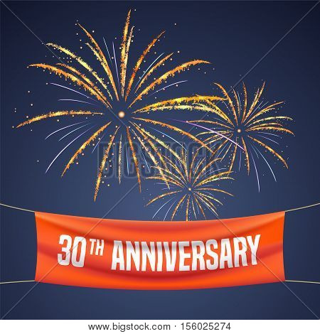 30 years anniversary vector illustration banner flyer logo icon symbol invitation. Graphic design element with fireworks for 30th anniversary birthday greeting event celebration