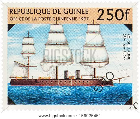 MOSCOW RUSSIA - NOVEMBER 10 2016: A stamp printed in Guinea shows German battleship