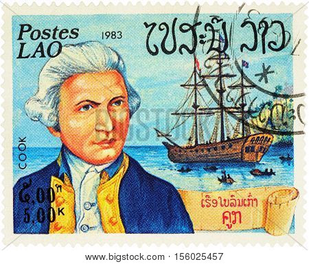 MOSCOW RUSSIA - NOVEMBER 08 2016: A stamp printed in Laos shows Captain James Cook and his ship
