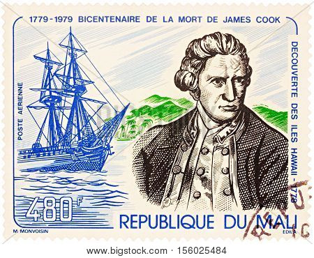MOSCOW RUSSIA - NOVEMBER 08 2016: A stamp printed in Mali shows Captain James Cook and his ship