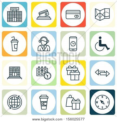 Set Of Travel Icons On Takeaway Coffee, Road Map And Accessibility Topics. Editable Vector Illustrat