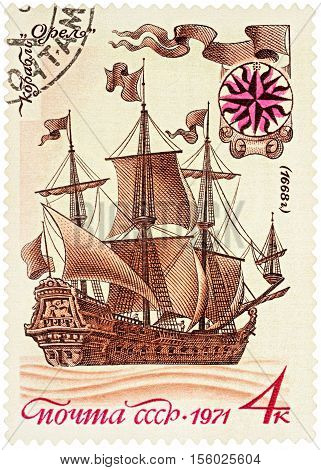 MOSCOW RUSSIA - NOVEMBER 08 2016: A stamp printed in USSR (Russia) shows the first Russian sailing ship