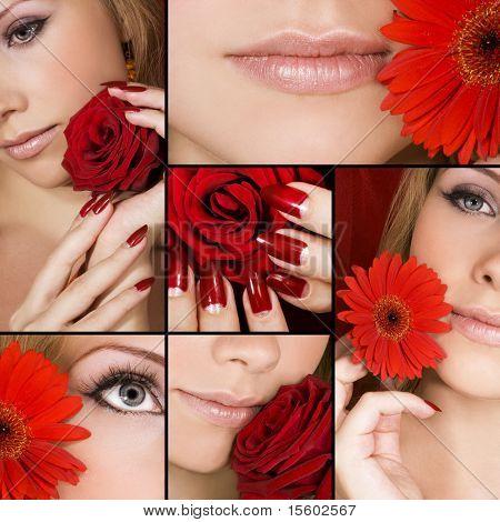 Colagem de várias fotos para indústria de moda e beleza