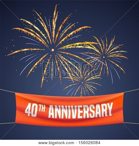40 years anniversary vector illustration banner flyer logo icon symbol invitation. Graphic design element with fireworks for 40th anniversary birthday greeting event celebration