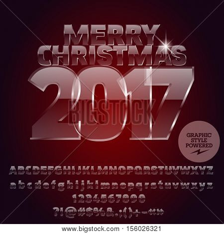 Vector glass Merry Christmas 2017 greeting card with set of letters, symbols and numbers. File contains graphic styles