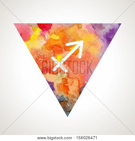 Sagittarius zodiac sign on watercolor triangle background. Astrology symbol