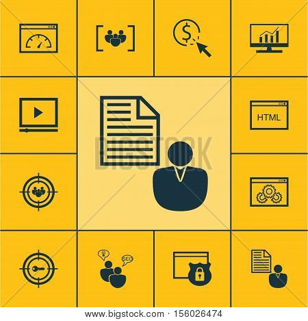 Set Of Marketing Icons On Website Performance, Security And Questionnaire Topics. Editable Vector Il