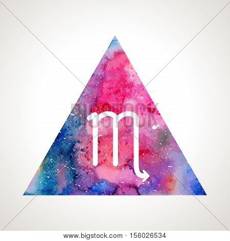Scorpio zodiac sign on watercolor triangle background. Astrology symbol