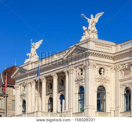 Zurich, Switzerland - 20 July, 2016: upper part of the Zurich Opera House building. Zurich Opera House has been the home of the Zurich Opera since 1891.