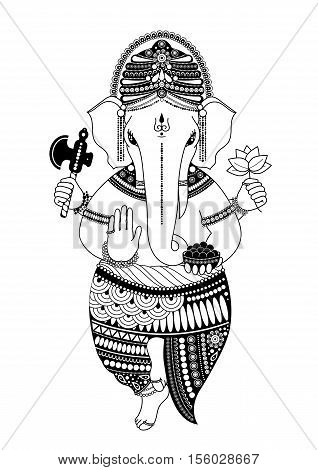 Ganesha or Ganapati Indian deity in the Hindu remover of obstacles patron of wisdom and astrology. illustration in black and white style for design of coloring book Chaturthi invitations.